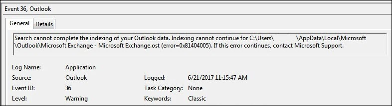 Advertencia de registro de eventos de Outlook