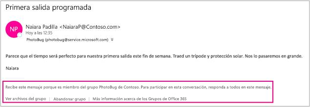 Todos los mensajes de correo electrónico que el invitado reciba de los miembros del grupo tendrán un pie de página con instrucciones y vínculos