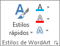 Grupo Estilos de WordArt donde solo se muestran iconos
