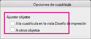 Para desactivar el acoplamiento, desactive las opciones en Objetos.