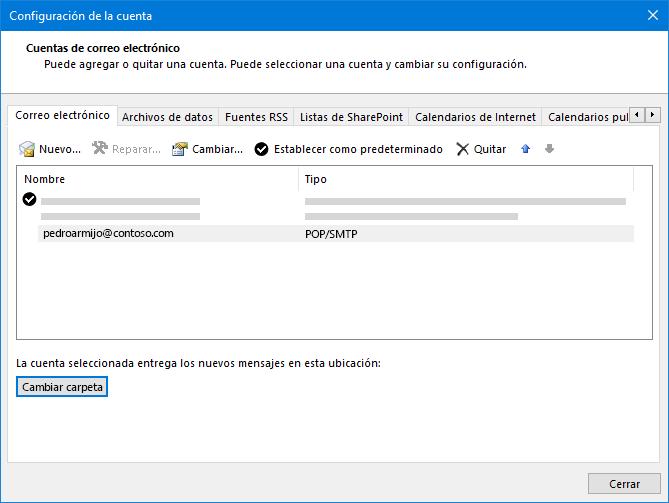 Cuadro de diálogo Configuración de la cuenta de Outlook