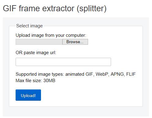 Cargue el archivo GIF en el sitio web EZGIF.com.