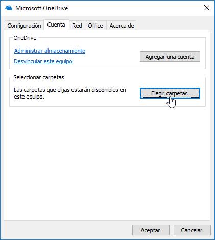 Cuadro de diálogo Elegir carpetas de OneDrive