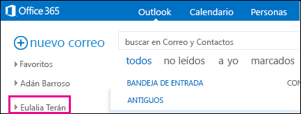 La carpeta compartida se muestra en Outlook Online