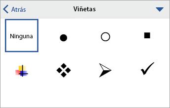 Comando Viñetas que muestra las opciones de formato