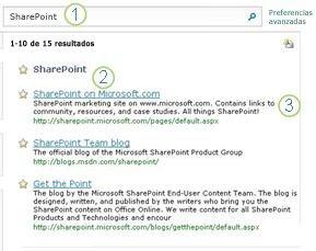 Los tres resultados más probables para SharePoint Server aparecen al principio de la página de resultados de la búsqueda