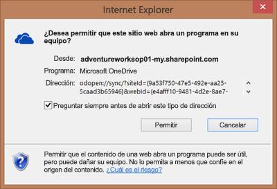 Captura de pantalla del cuadro de diálogo en Internet Explorer que pide permiso para abrir Microsoft OneDrive