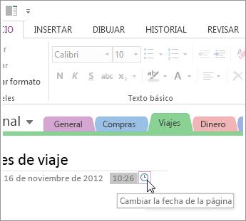 En OneNote se puede cambiar la hora de creación de una página.
