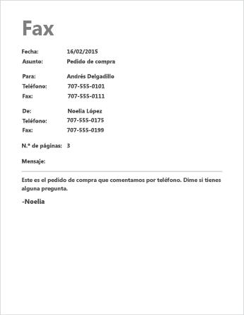 Plantilla de portada de fax