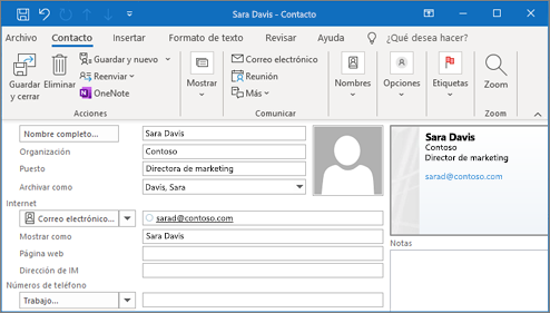 Agregar un contacto en Outlook