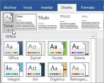 Temas de Office 365 Word