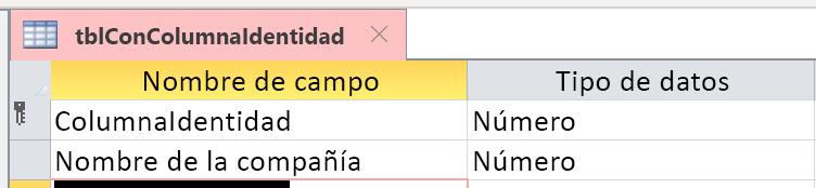 La columna Identidad no se identificó correctamente como Autonumeración