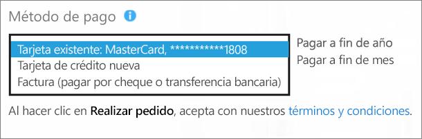 """Captura de pantalla de la sección """"Método de pago"""" de la página """"¿Cómo quiere pagar?"""", con el cuadro desplegable expandido de las opciones de pago."""