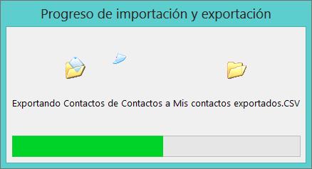 Imagen del cuadro de progreso de la exportación.
