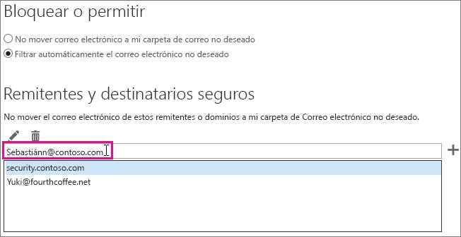 Agregar un remitente seguro en Outlook Web App