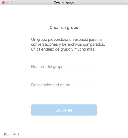 Se muestra la interfaz de usuario para crear un grupo en Mac.