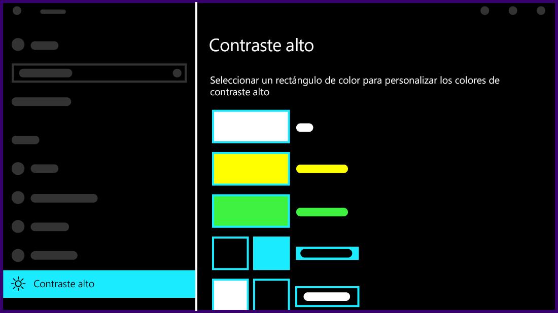 Ilustración del aspecto de la configuración de contraste alto en Windows 10.