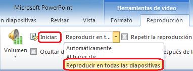 "Opción ""Reproducir en todas las diapositivas"" para un archivo de audio en PowerPoint 2010"