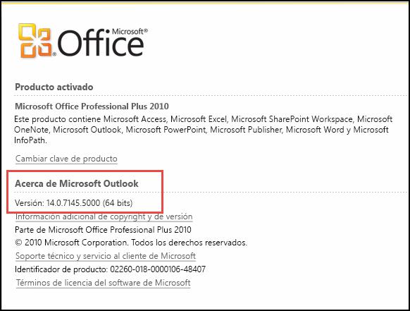 Captura de pantalla de la página donde se puede comprobar la versión de Outlook 2010, en Acerca de Microsoft Outlook