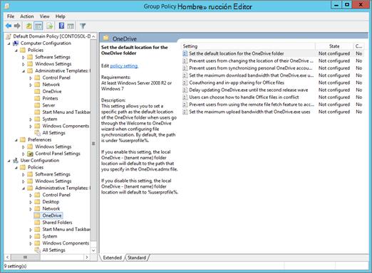 Configuración de OneDrive en el Editor de administración de directiva de grupo