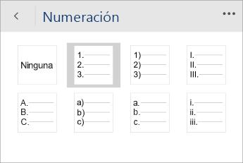 Captura de pantalla del menú Numeración en Word Mobile con un estilo de numeración seleccionado.