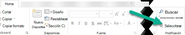 En la pestaña Inicio, haga clic en Seleccionar y después haga clic en Panel de selección.