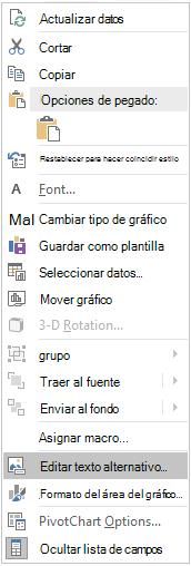 Menú editar texto alternativo para gráficos dinámicos de Excel Win32