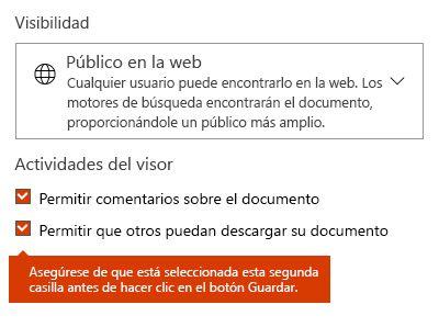 Opción Descargar el documento en Docs.com