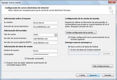 Cuadro de diálogo Configuración de cuenta manual
