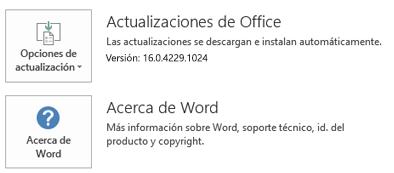 Cuando se ha instalado Office mediante la tecnología de Hacer clic y ejecutar, la información de Aplicación y Actualización tiene este aspecto.