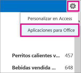 Comando Aplicaciones de Office en el menú Configuración