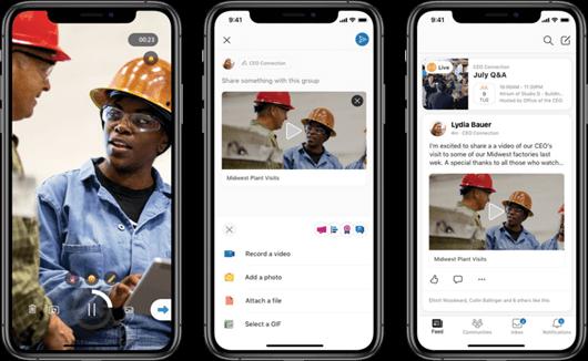 Crear vídeos cortos para Yammer en la plataforma móvil iOS