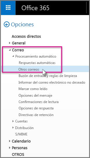 Debajo de Correo > Procesamiento automático > Otros correos