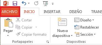 Haga clic en ARCHIVO en la parte superior izquierda de la pantalla.