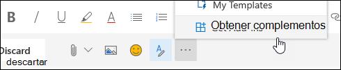 Una captura de pantalla del botón de complementos Get