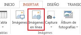 En la pestaña Insertar, haga clic en Imágenes en línea.