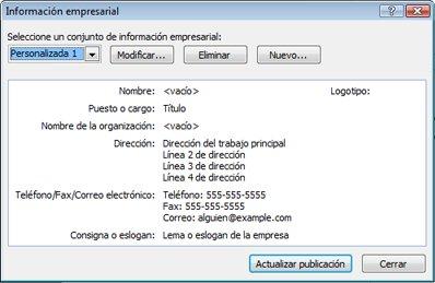 Editar un conjunto de información empresarial en Publisher 2010