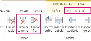 Imagen de los comandos Eliminar tabla y Eliminar fila de la cinta de opciones Diseño de Herramientas de tabla