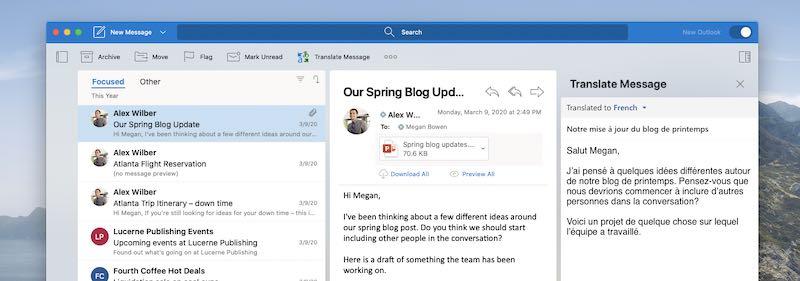 Outlook para Mac mostrando un complemento en uso