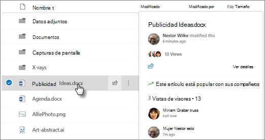 Captura de pantalla de la tarjeta desplazable de archivos que aparece cuando apunta a un archivo en OneDrive o SharePoint