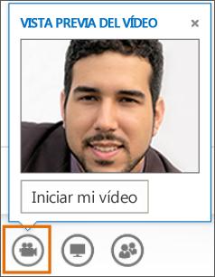 Captura de pantalla de Iniciar mi vídeo en una reunión con una Vista previa de vídeo