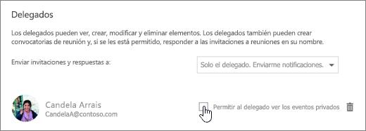 Captura de pantalla de la casilla El delegado puede ver eventos privados.