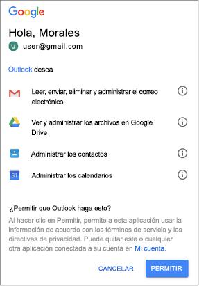 Haga clic en permitir para proporcionar acceso de Outlook a los mensajes de Gmail, archivos, contactos y calendarios