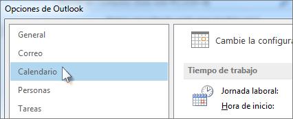 En Opciones de Outlook, haga clic en Calendario.