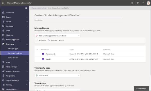 Directivas de permisos en el centro de administración de Microsoft Teams