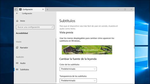 Configuración de subtítulos en la aplicación Configuración.