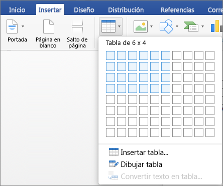 Insertar una tabla en Word para Mac  Word for Mac