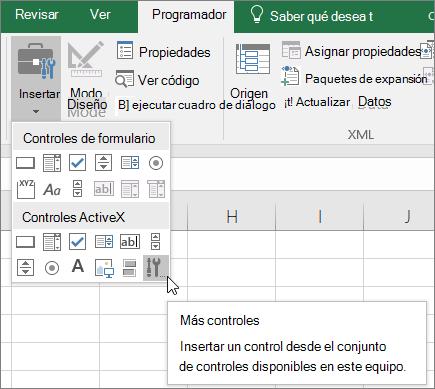 ActiveX controles de la cinta de opciones