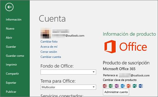 La cuenta de Microsoft asociada a Office aparece en la ventana Cuenta de una aplicación de Office