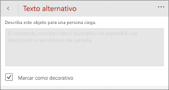 Opción marcar como decorativa seleccionada en el cuadro de diálogo texto alternativo de PowerPoint para Windows Phone.